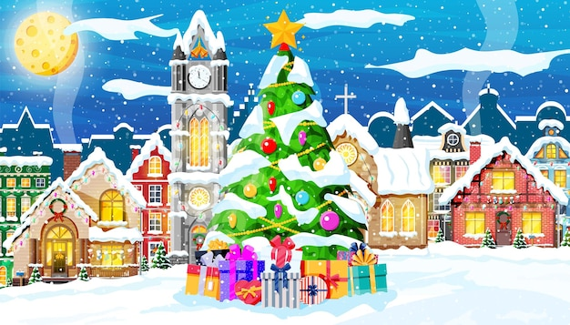 Christmas card with urban landscape and snowfall. cityscape with colorful houses with snow in night. winter village, cozy town city panorama. new year christmas xmas banner. flat vector illustration