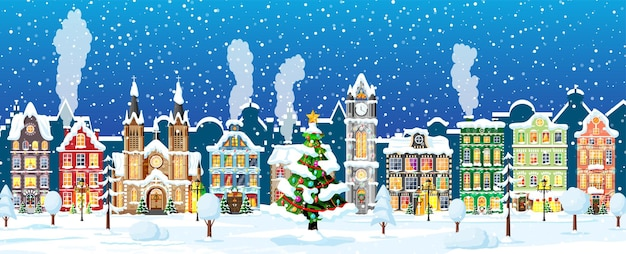 Christmas card with urban landscape and snowfall.