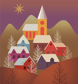 Christmas card with village landscape.