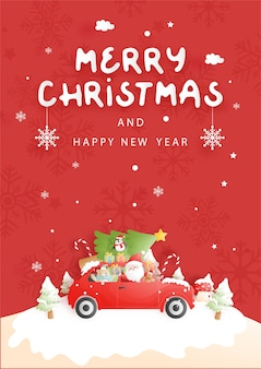 Christmas card with vintage truck, santa and friend