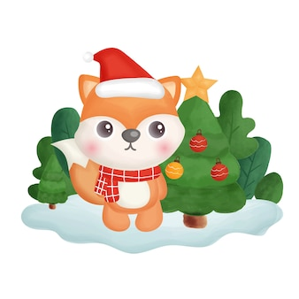 Рождественская открытка с акварельной лисой в лесу.