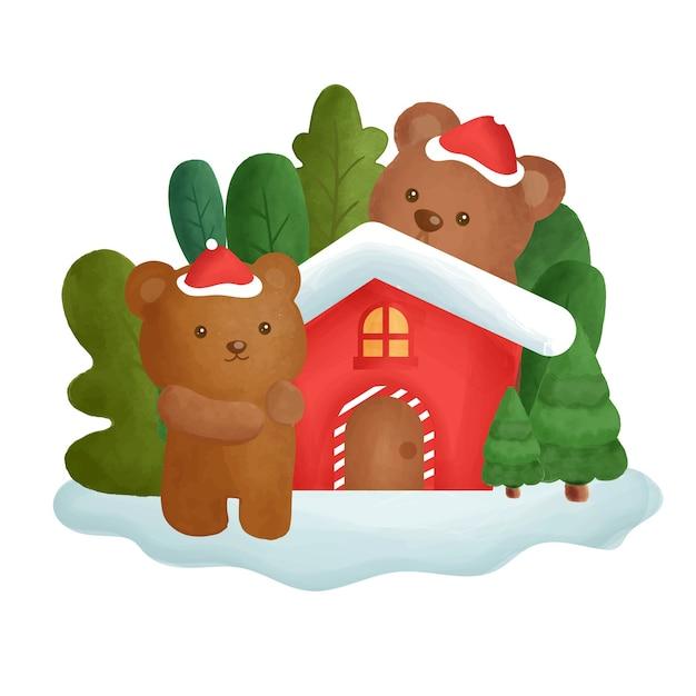 水の色の家と森の中のクマのクリスマスカード。