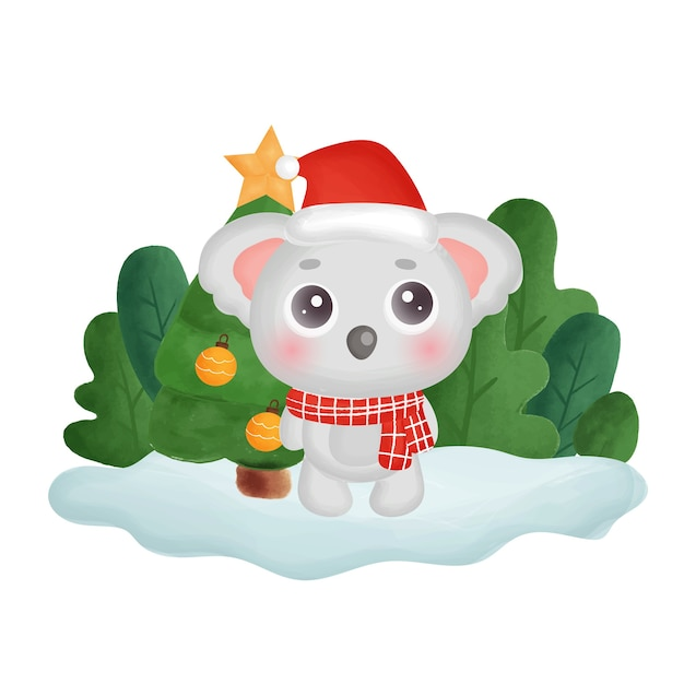 Christmas card with water color koala in the forest.