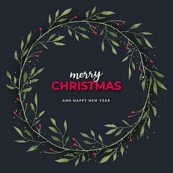 水彩ヤドリギの花輪とゴールドのキラキラとクリスマスカード
