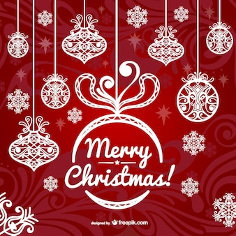 Рождественская открытка с белым орнаментом