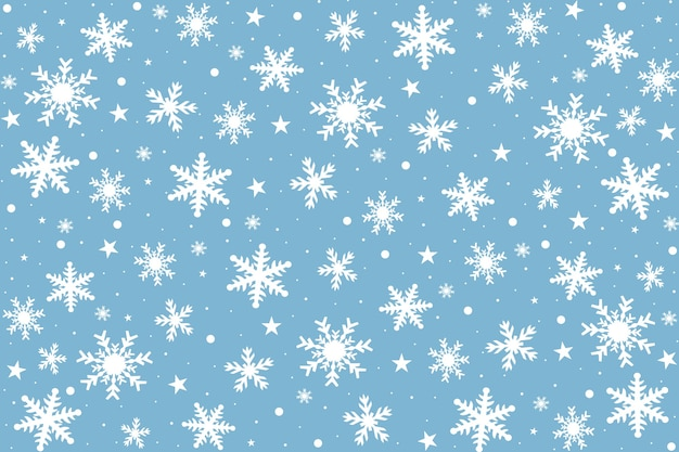 Christmas card with white snowflakes on blue background.