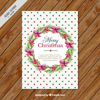 Christmas card with wreath and circles