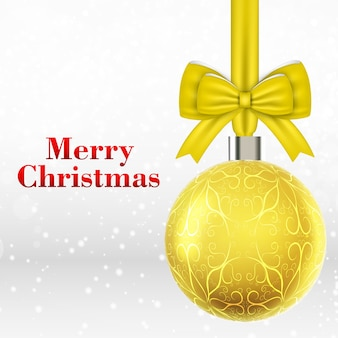 Christmas card with yellow christmas ball