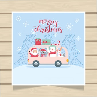 Christmas card over wooden background.