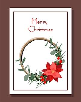 Christmas card. wreath with poinsettia flower. cartoon style