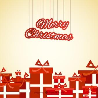 빨간 선물 크리스마스 카드