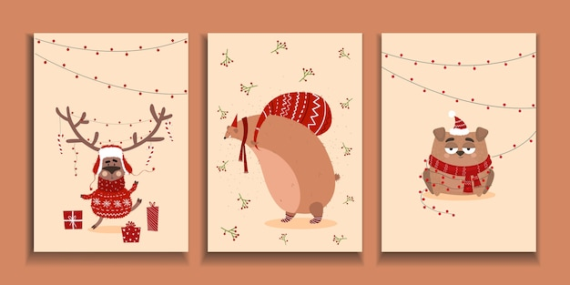 Christmas cards. christmas background with animals in cartoon style. postcard with deer, bear, dog.