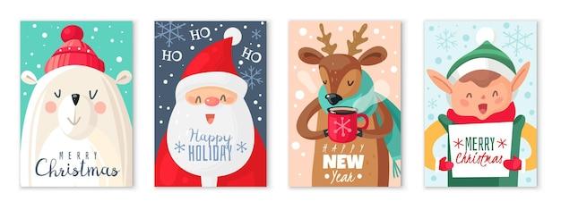 Рождественские открытки. поздравительная открытка с рождеством и новым годом с милым дедом морозом и милыми животными, полярным медведем и оленем, рождественский подарок, мультяшный векторный праздничный набор
