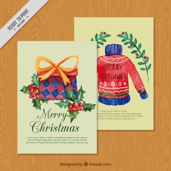 Christmas cards painted with watercolors