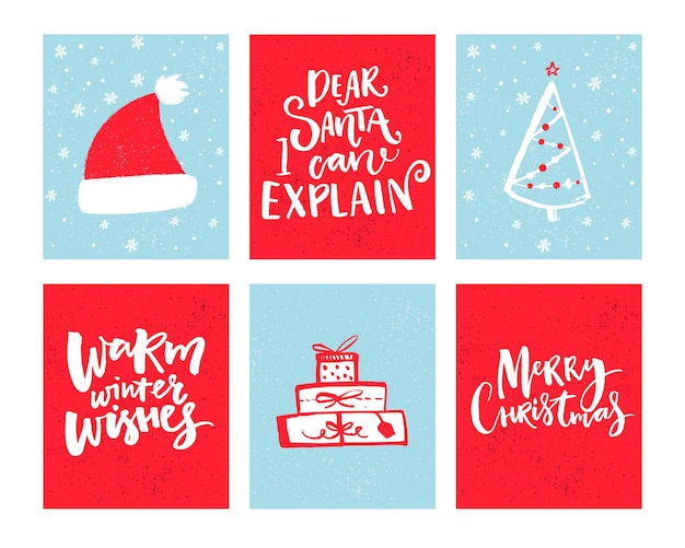 Christmas cards set vector christmas design with hand drawn elements and lettering winter wishes