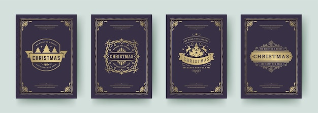 Christmas cards set vintage typographic qoutes   illustration. ornate decorations symbols with winter holidays wishes and flourish ornament flourish frames.