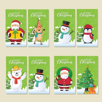 Christmas cards set with santa claus and christmas decorations
