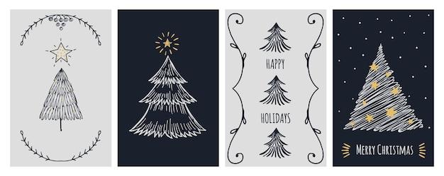 Christmas cards template. doodle xmas tree and stars, holiday invitation banner. new year festive scandinavian minimalistic vector illustration. holiday xmas tree, winter december card