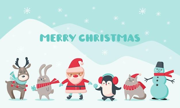 かわいい動物とサンタクロースのクリスマスカード。キャラクタートナカイ、雪だるま、サンタクロース、ペンギン、猫、雪片のウサギ。ベクトルフラットイラスト。グリーティングカード、バナーのデザイン
