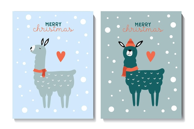 Christmas cards with cute llamas vector childish illustration print on poster postcards clothes