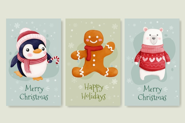 Christmas cards with cute penguin bear and gingerbread cookies
