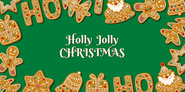 녹색 배경에 수제 진저 브레드가 있는 크리스마스 카드