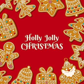 빨간색 배경에 수제 진저 브레드가 있는 크리스마스 카드
