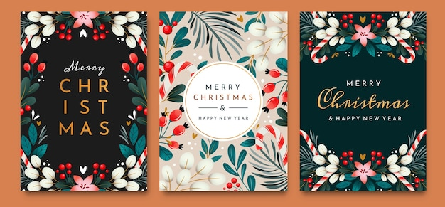 Christmas cards with ornaments of branches, berries and leaves. set of greeting cards.