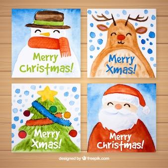 Рождественские открытки с акварельными символами