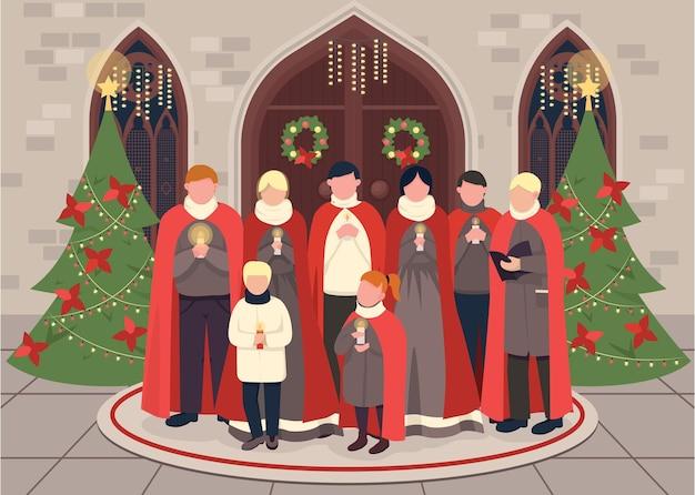 Рождественская песня хор плоская цветная иллюстрация
