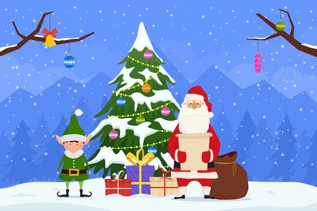 休日のクリスマスと新年のクリスマス漫画のキャラクター。