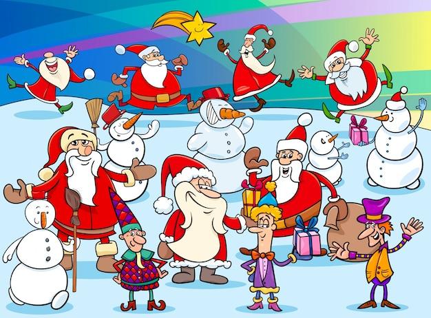 クリスマス漫画のキャラクターグループ