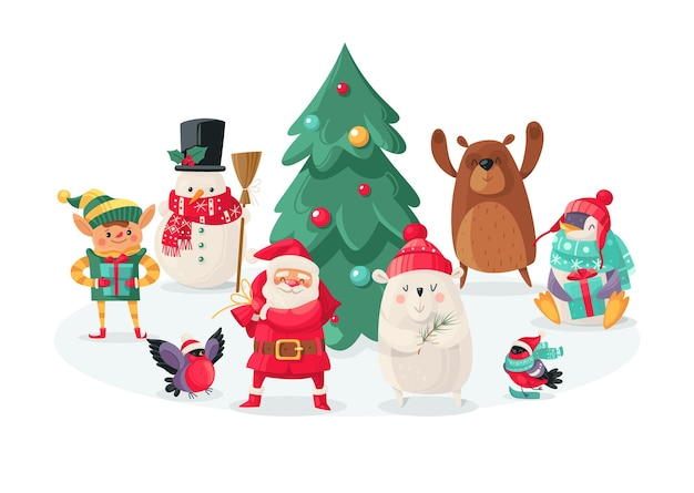 Christmas cartoon characters. new year cute animals bullfinch and polar bear, rabbit and penguin, santa claus and snowman, elf and squirrel, holiday tree vector isolated objects for design