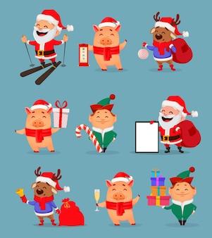 Рождественские мультипликационные персонажи, набор из девяти иллюстраций
