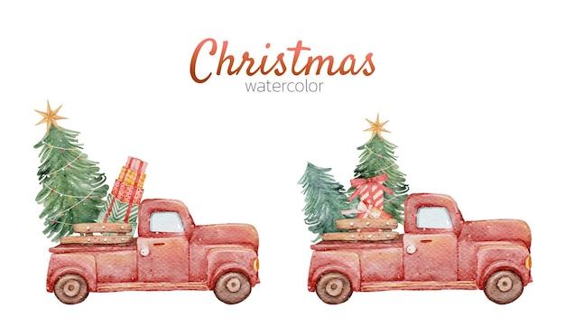 크리스마스 만화 귀여운 빨간 자동차 수채화 손 그림