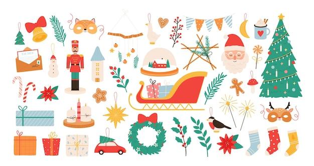 크리스마스 만화 장식 및 장난감입니다. 새해와 메리 크리스마스 장식 요소, 호두까기 인형, 겨우살이, 양말, 산타 스티커 벡터 세트. 그림 장식 크리스마스와 장난감 선물