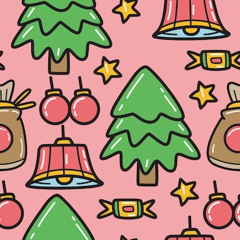 Christmas cartoon doodle pattern design