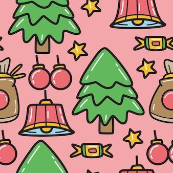 Рождественский мультфильм каракули шаблон дизайна