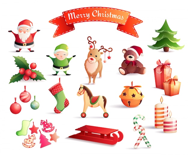 Christmas cartoon elements set