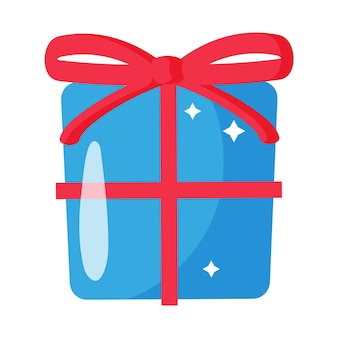 활과 크리스마스 만화 축제 파란색 선물 상자입니다. 기쁜 성 탄과 새 해 복 많이 받으세요 개념입니다.