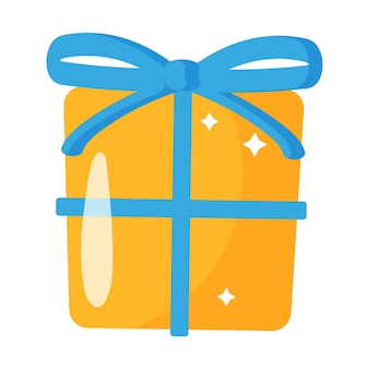 활과 크리스마스 만화 축제 오렌지 선물 상자입니다.