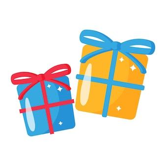 활과 선물 상자의 크리스마스 만화 축제 세트입니다.