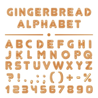 Christmas cartoon gingerbread cookies font alphabet collection