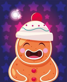 Christmas cartoon of gingerbread man