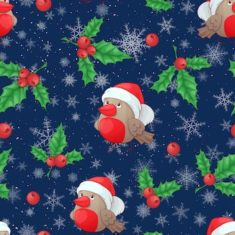 Christmas cartoon holly berries seamless pattern