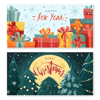 Christmas cartoon horizontal banners.