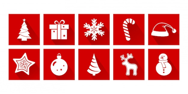 クリスマス漫画アイコン。新年。休日の装飾セット、赤と白の色。ベクトルイラスト