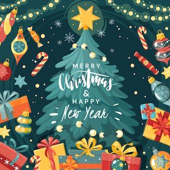クリスマス漫画イラスト。贈り物とクリスマスツリー