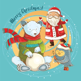Christmas cartoon illustration of sculpt of snowman in winter with cheerful santa, bear and owl.