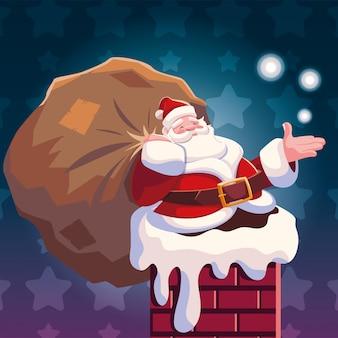 Christmas cartoon of santa claus entering the chimney